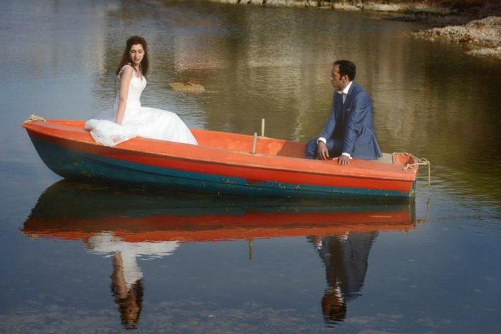 Φωτογράφηση γάμου σε βάρκα
